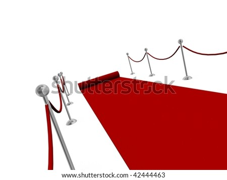 Red carpet rolling away from camera - stock photo