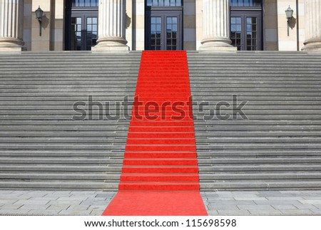 Red carpet stairs, clipping path included - stock photo