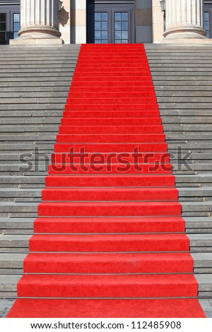 Red carpet stairs, clipping path included, success concept - stock photo