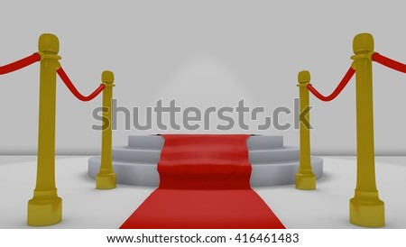 red carpet to podium in a simple 3D Illustration
