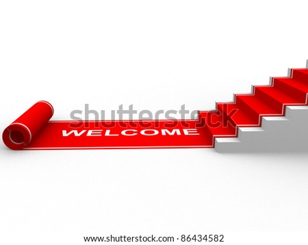 Red carpet unrolling. 3d illustration - stock photo