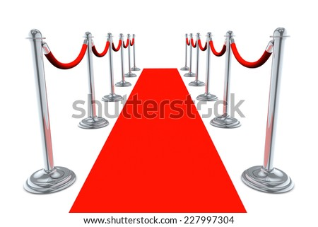 Red Carpet walk way isolated on white background