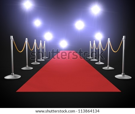 red carpet with lights - stock photo