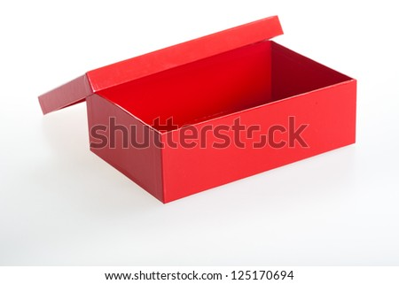 Red carton box viewed from top/side