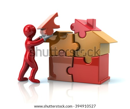 Red cartoon man builds a puzzle house isolated on white background