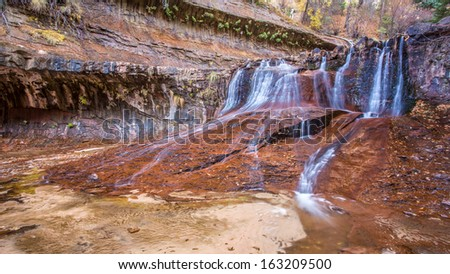 Red Cascades on the way to the Subway, Zion, Utah - stock photo