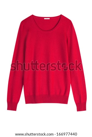 Red cashmere or wool sweater isolated on white background - stock photo