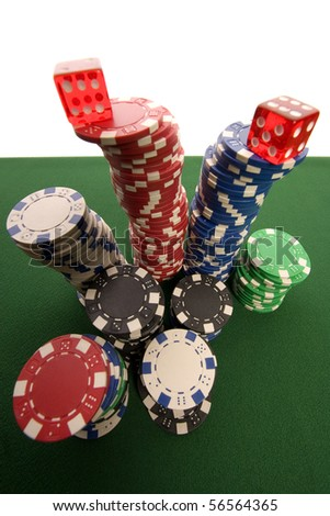 Red casino dice and chips