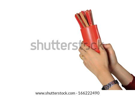 Red cast lot bamboo flask isolated on white background