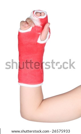 Red cast on a child isolated on white background