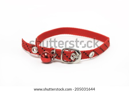 Red Cat Collar On a white background - stock photo