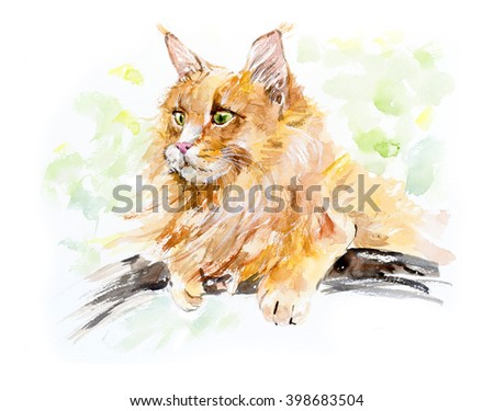 Red cat on the tree. Cats background, Watercolor hand drawn illustration - stock photo