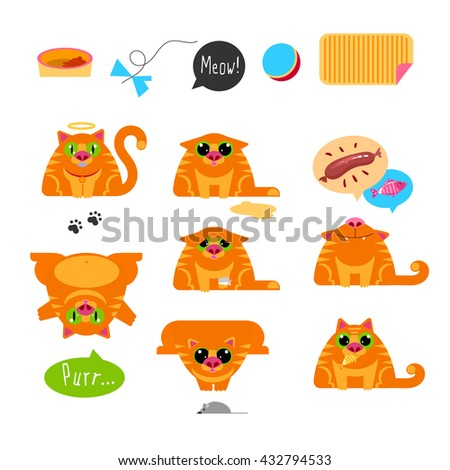 Red Cat. Set of characters. Emotion for chat, avatars, prints. Games, food end rest. Icon set. Cats modern flat style collection.
