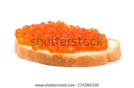 Red caviar isolated on white background