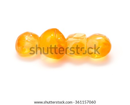red caviar on a white background - stock photo