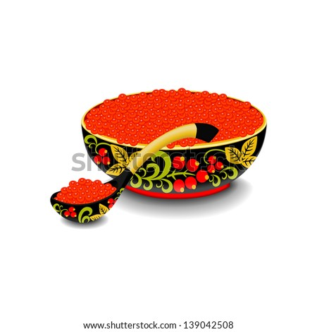 """Red caviar on the wooden spoon and bowl painted in traditional style """"hohloma"""" isolated on the white. raster version, vector file also included - stock photo"""