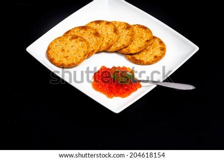 Red caviar sandwiches  - stock photo
