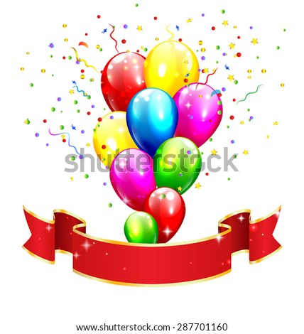 Red Celebration Ribbon with Inflatable Bright Balloons and Confetti Isolated on White Background - stock photo