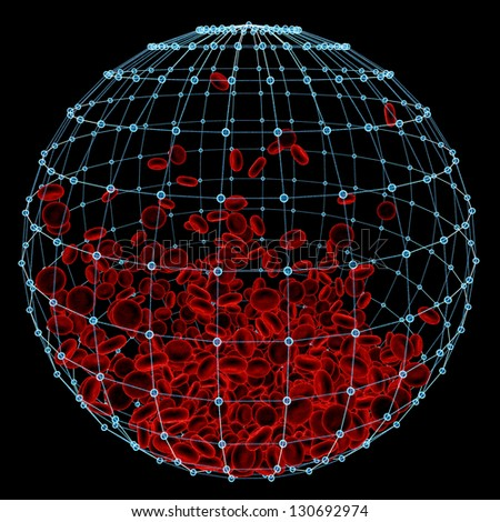 red cells inside in atomical sphere - stock photo