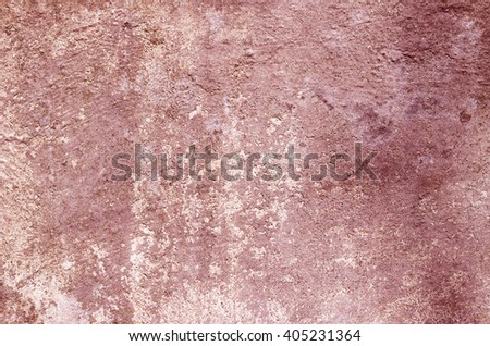 Red cement wall with traces of the brush on the crumbling plaster. textural composition - stock photo