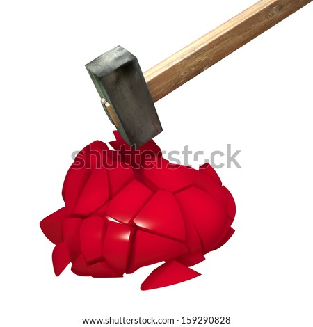 red ceramic heart broken apart with iron hammer - stock photo
