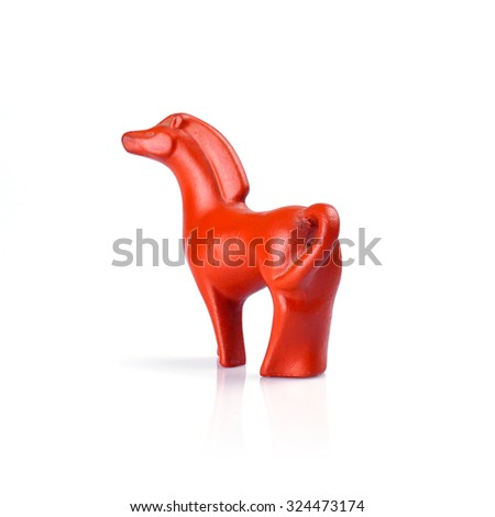 red ceramic horse doll isolated on white background