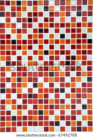 red ceramic mosaic pool background, vertical - stock photo