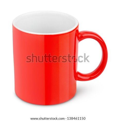Red ceramic mug isolated on white with clipping path - stock photo