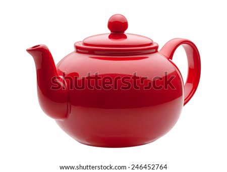 Red Ceramic Teapot isolated on white with a clipping path. The image is in full focus, front to back. - stock photo