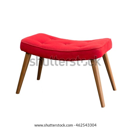 Red chair footrest isolated on white background. This has a clipping path.