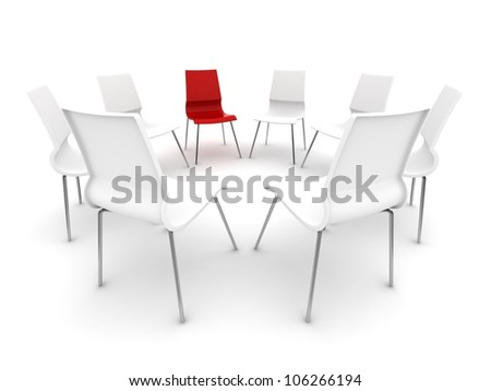 red chair in a a circle of white chairs