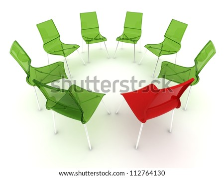 red chair in a circle with transparent green chairs - stock photo
