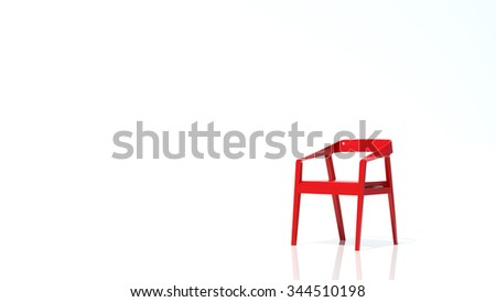 red chair in white background - stock photo