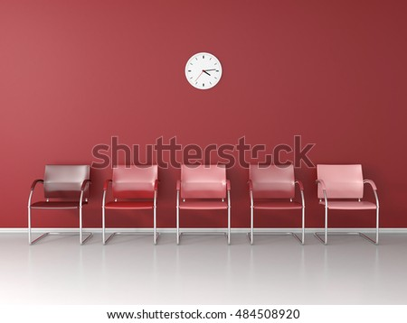 Red chairs in the red waiting room 3D render