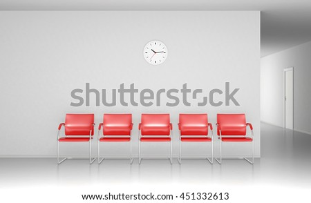 Red chairs in the waiting room 3D render