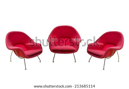 red chairs isolated with paths - stock photo