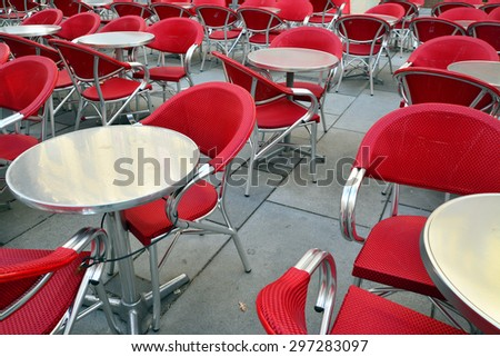 red chairs on the terrace