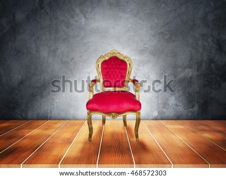 Red chairs placed on the wooden floor in front of a blurred background,3D illustration