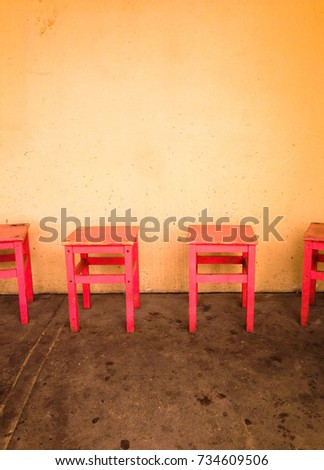 Red Chairs Putting Front Lightcolor Wall Stock Photo (100% Legal ...