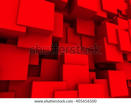Red Chaotic Cubes Wall Background. 3d Render Illustration - stock photo