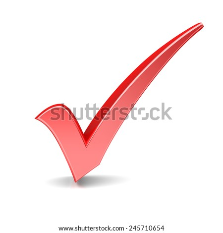 Red check mark on a white background - stock photo