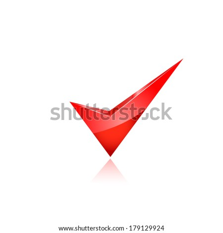 red check mark. raster copy. - stock photo