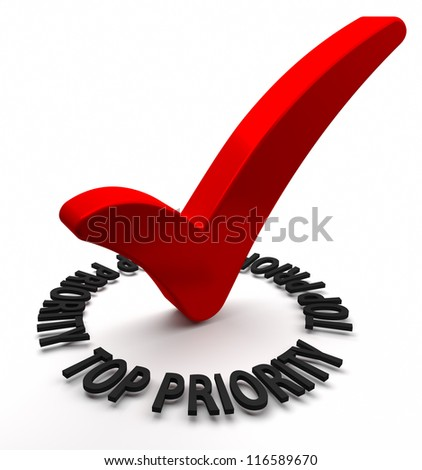 Red check mark with 3D text. Part of a series. - stock photo