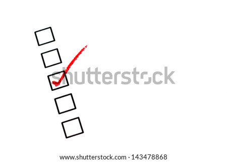Red checked on blank box - stock photo