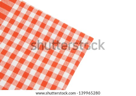 Red checked tablecloth isolated on white - stock photo