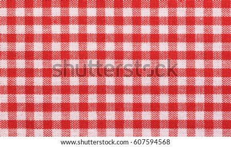 Red Checkered Tablecloth Fabric Background Texture, Close Up.