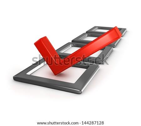 Red checkmark in checklist - stock photo