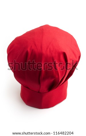 red chef's hat isolated on white background - stock photo