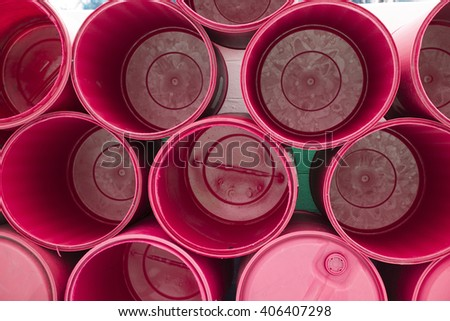 red chemical barrels stacked up Texture background - stock photo