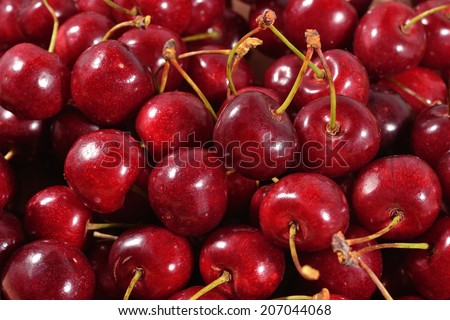 Red cherries close up as background